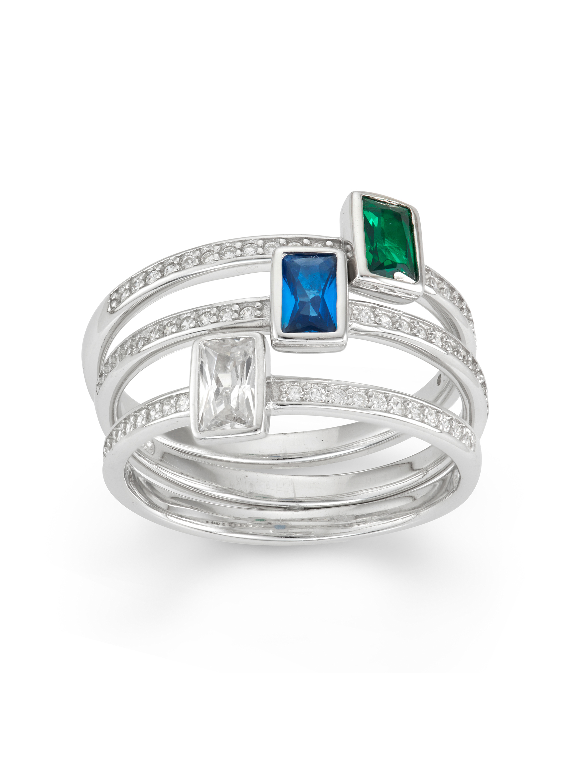 Simulated Emerald, Created Blue Sapphire and White Cubic Zirconia Emerald-Cut 3-Piece Sterling Silver Ring Set