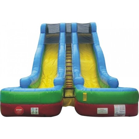 - Pogo 24' Retro Commercial Inflatable Double Lane Water Slide with Blower Kids Bouncy Jumper