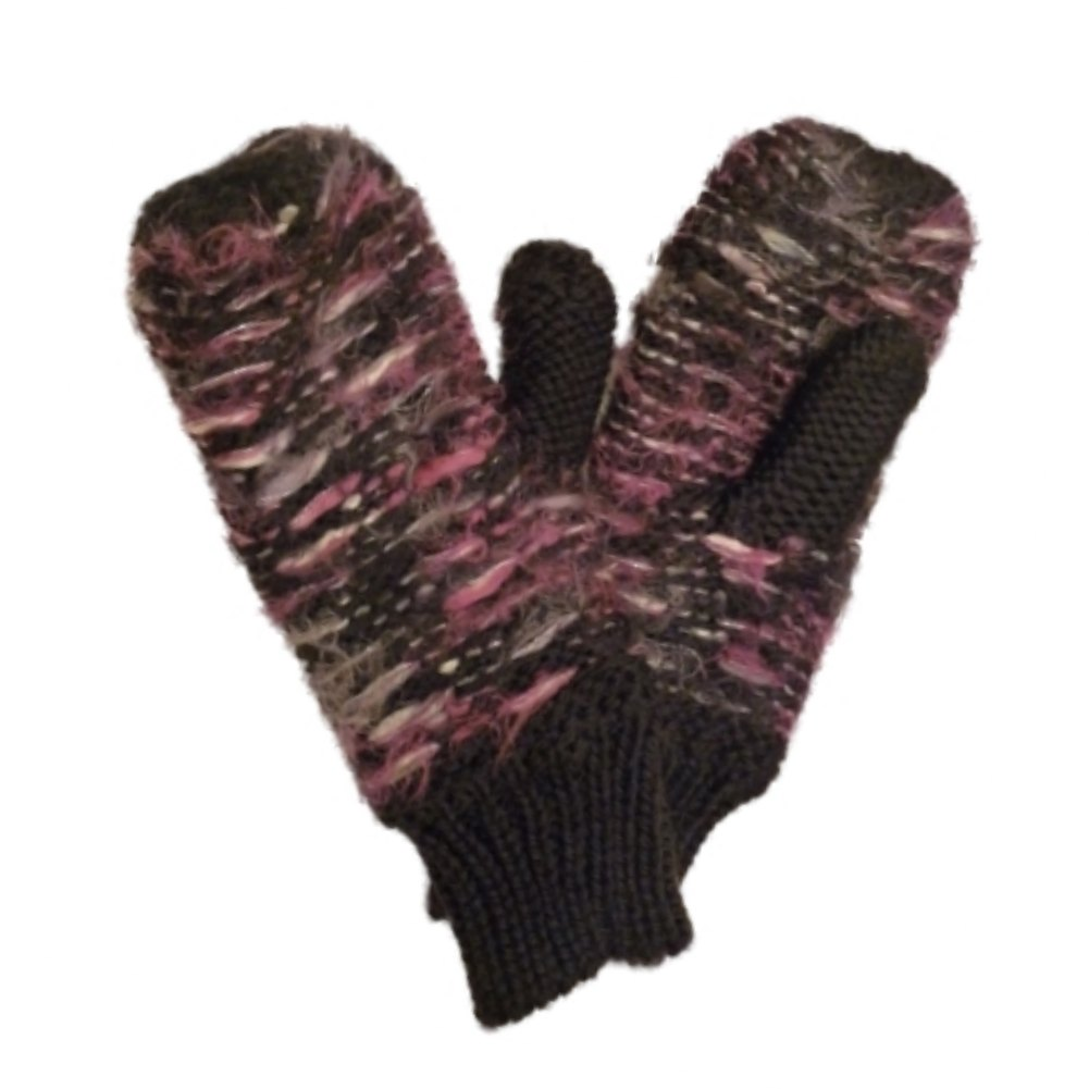 Mudd Womens Soft Black & Purple Knit Mittens with Fleece Lining
