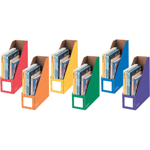 "Fellowes Banker's Box 4"" Magazine File, Assorted Colors, 6pk"