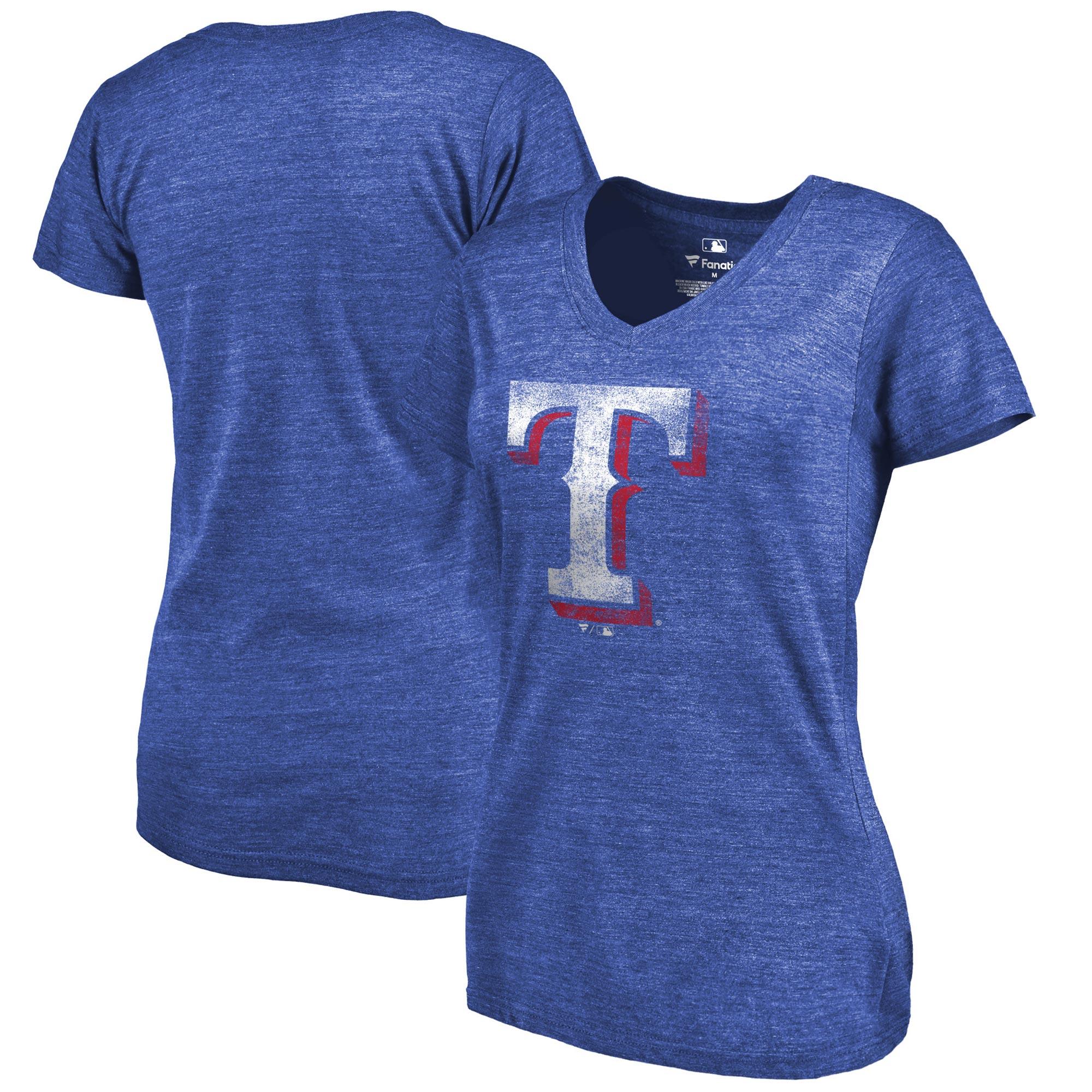 Texas Rangers Fanatics Branded Women's Primary Distressed Team Tri-Blend V-Neck T-Shirt - Heathered Royal