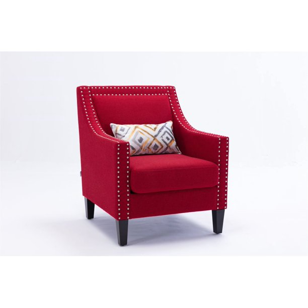 Red Accent Chair Fabric Arm Chairs, Red Accent Chair Living Room