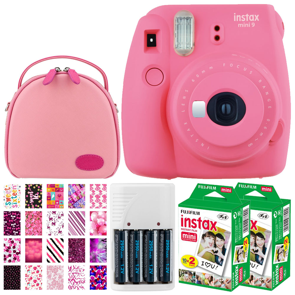 Fujifilm instax mini 9 Instant Film Camera (Flamingo Pink) + Fujifilm Instax Mini Twin Pack Instant (40 Shots) + Round Camera Case + 4 AA Batteries & White Charger + 20 Sticker Frames Sweet 16 Package