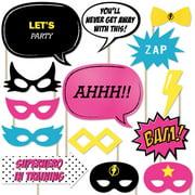 BAM! Girl Superhero - Piece Photo Booth Props Kit - 20 Count
