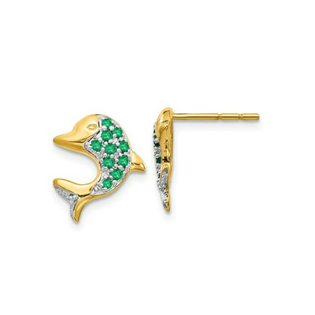 Gold 14x10mm Emerald (Natural Green Emerald Dolphin Earrings 1/4 Carat (ctw) in 14K Yellow Gold)
