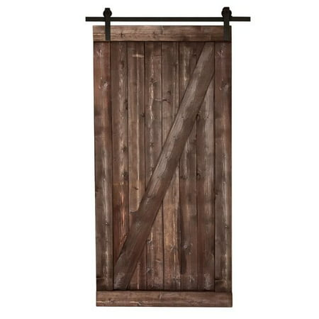 Farm Style Sliding Door, Distressed Smoke Finish