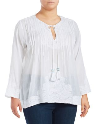 Plus Embroidred Peasant Top