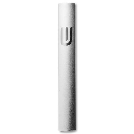 "Aluminum Silver-Tone Contemporary Modern Classic Glitter Mezuzah Case, 5"""