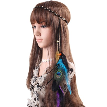 Headwear Headband - Fascgirl Fascinator Feather Headband Bohemian Tassels Headwear for Women Girls