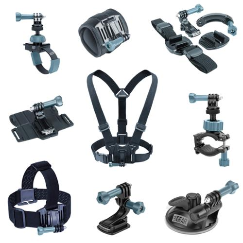 9-in-1 Professional Action Mount Bundle Kit by USA Gear - Works With GoPro HERO4 , Sony 4K Action Camera FDR-X1000V , HTC RE Camera and More Cameras