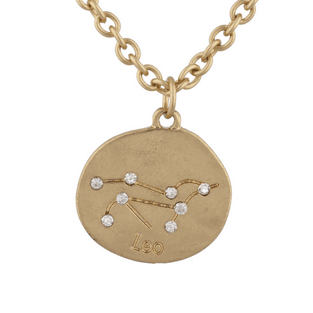 Lux Accessories Gold Tone Crystal Leo Zodiac Constellation Horoscope Necklace