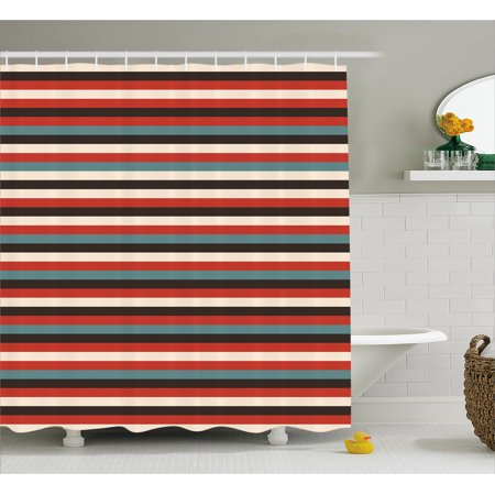 Striped Shower Curtain Vintage Retro Pattern Geometric 60s Style Red Black Teal And Beige Colored Print Fabric Bathroom Set With Hooks Multicolor