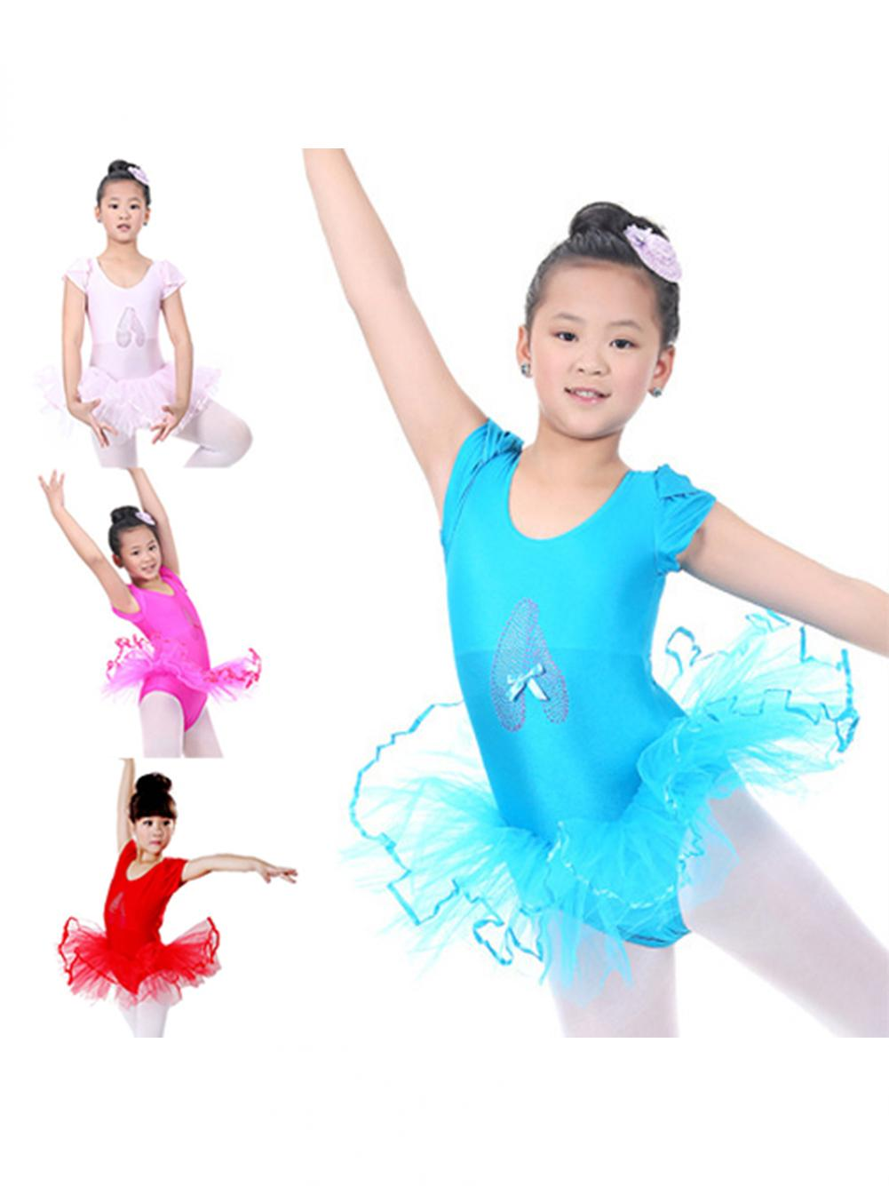 Cute Toddler Baby Girls Short Sleeve Ballet Tutu Dress Dancing Costume Leotard