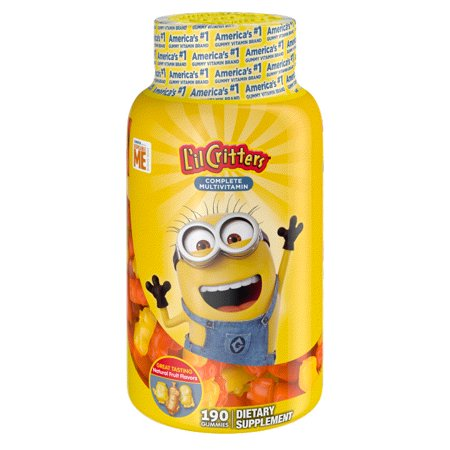 L'il Critters Despicable Me Minion Multivitamin Gummies, 190ct Multivitamin 100 Tabs