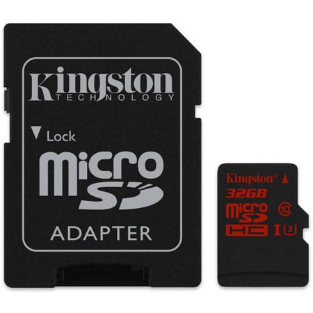Kingston 32GB UHS-I Class U3 microSDHC Memory Card with SD Adapter
