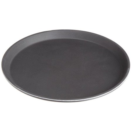 Stanton Trading Non Skid Rubber Lined 11-Inch Plastic Round Economy Serving Tray, Black ()