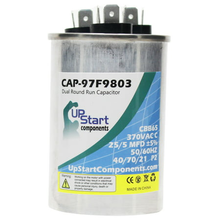 2-Pack 25/5 MFD 370 Volt Dual Round Run Capacitor Replacement for GE 7054GB16 - CAP-97F9803, UpStart Components Brand - image 1 of 4