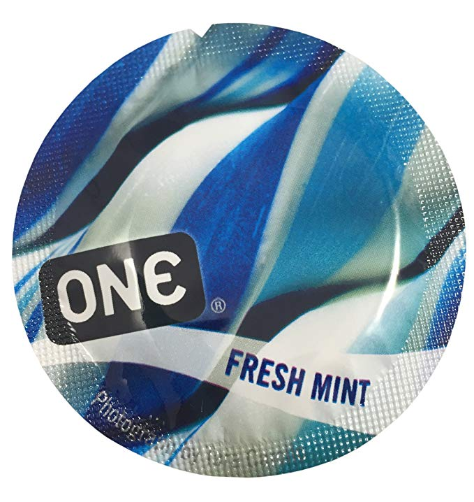 ONE Fresh Mint + Brass Pocket Case, Premium Lubricated Flavored Latex Condoms-24 Count