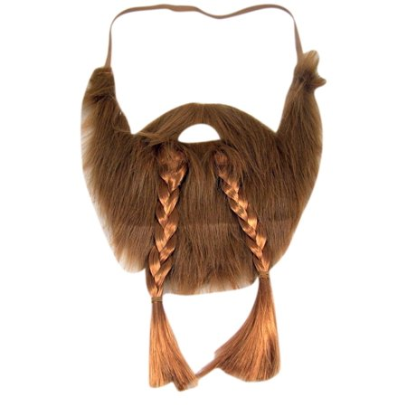 Long Braided Brown Beard and Mustache Costume Accesory](Costume Beards And Mustaches)
