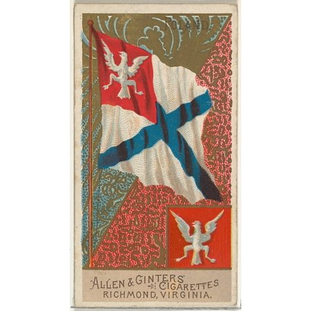 Poland from Flags of All Nations Series 2 (N10) for Allen & Ginter Cigarettes Brands Poster Print (18 x 24)