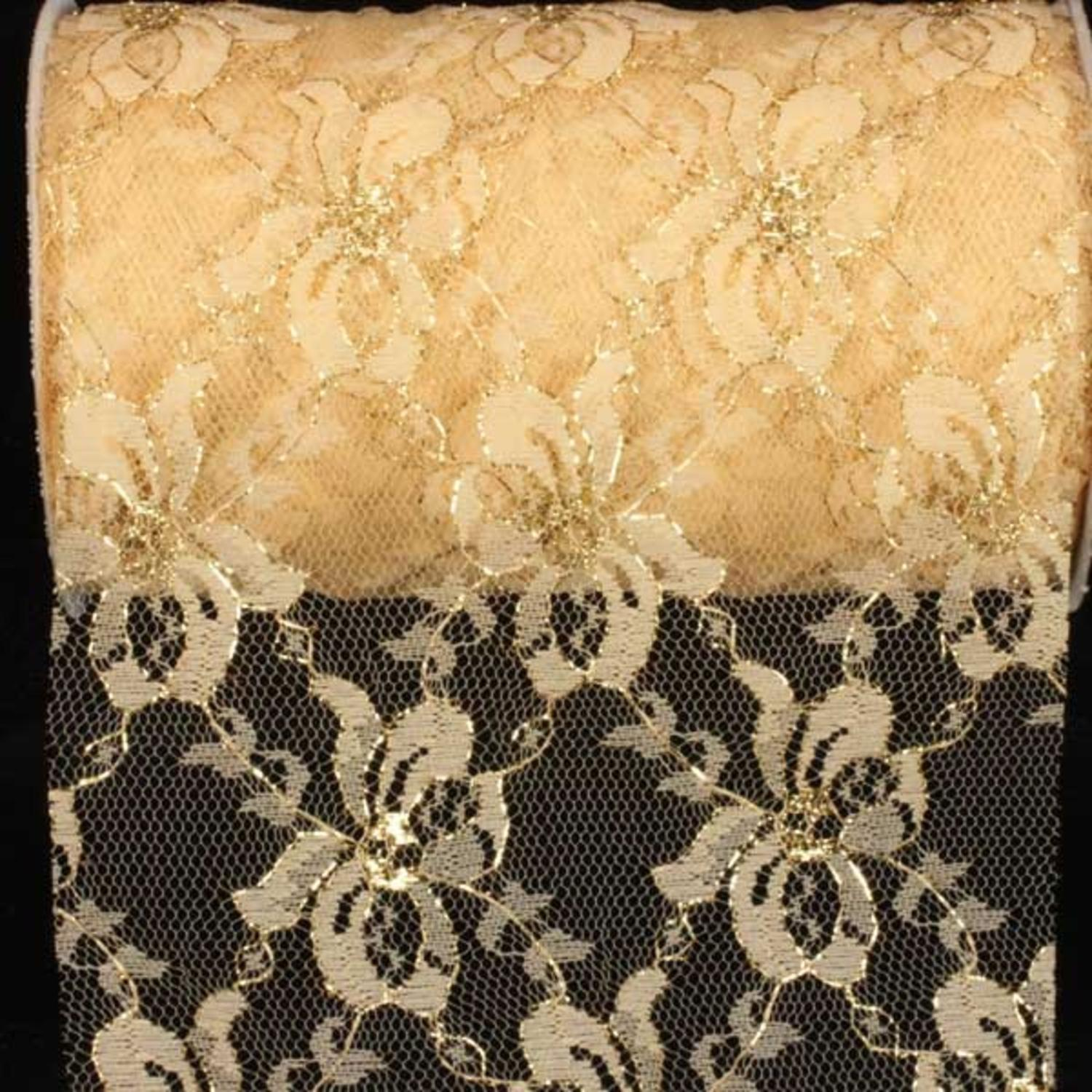 "Designer Soft Gold Floral Lace Craft Ribbon 6"" x 27 Yards"