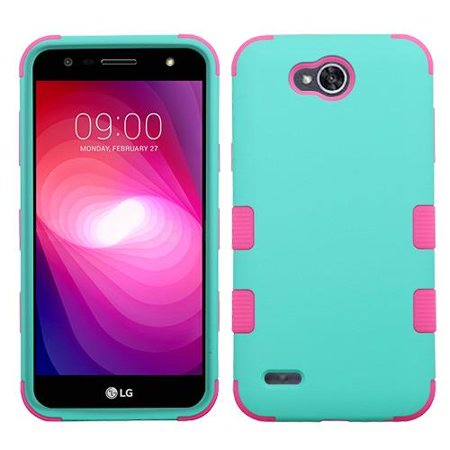 the best attitude b82b6 c4d7c For LG Fiesta 2 Case Dual Layer Tuff Armor Hybrid Silicone Phone Cover Hard  Plastic (Teal/Pink)