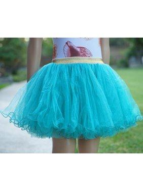 Wenchoice Girls Turquoise Gold Shimmery Elastic Waist Fluffy Tutu Skirt