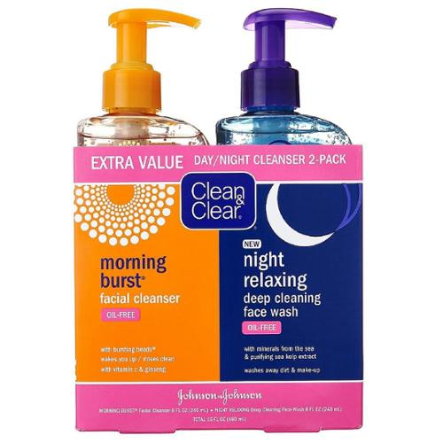 CLEAN & CLEAR Morning Burst/Night Relaxing Cleansing Face Wash Pack 1 ea (Pack of 4)
