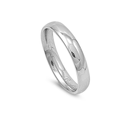 Stainless Steel Plain Concave Wedding Band -