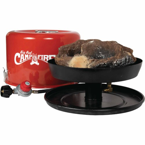 "Camco ""Big Red Campfire"" 13.25-Inch Portable Propane Outdoor Camp Fire, Approved For RV Campgrounds, 65,000 BTU's, Includes 10 Foot Propane Hose (58035)"