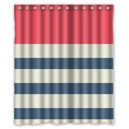 MOHome Navy Blue Red and White Transverse Stripes Shower Curtain Waterproof Polyester Fabric Shower Curtain Size 60x72 inches