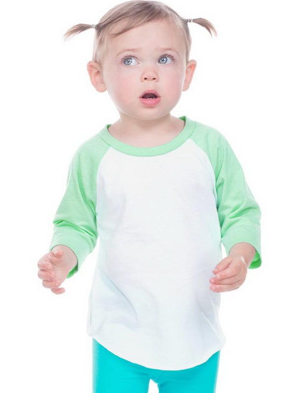 Kavio IJP0660 Infant Jersey Contrast Raglan 3/4 Sleeve-White / Ice Green-12M