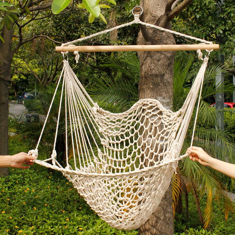 Zimtown Outdoor Swing SeatCotton Rope Hammock Hanging Chair Seat Porch Patio Garden Tree