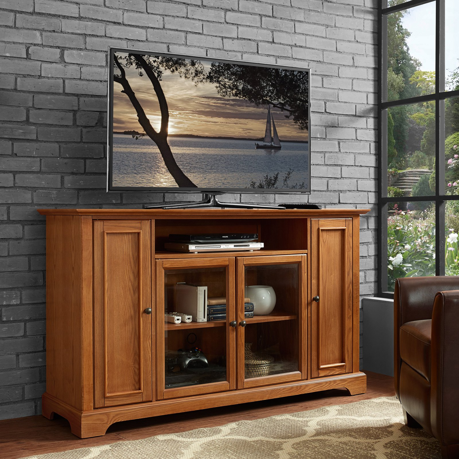 """Campbell 60"""" TV Stand in Oak Finish"""