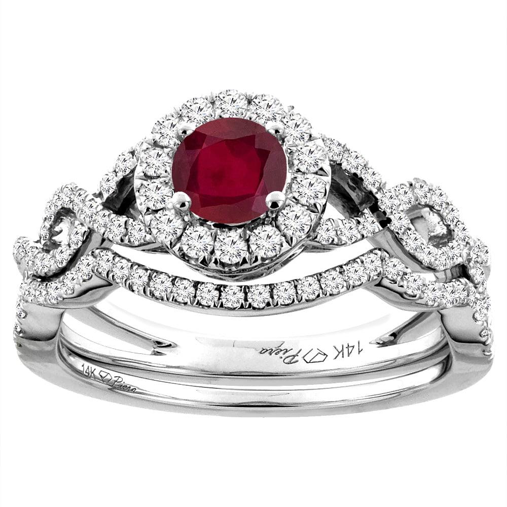 14K White Gold Diamond Enhanced Genuine Ruby Halo Engagement Bridal Ring Set Round 5 mm, size 5.5 by Gabriella Gold