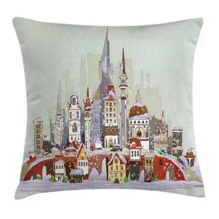 Ambesonne Xmas City Holiday Pillow Cover ()