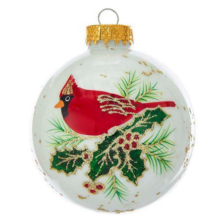 Kurt Adler 80MM White With Cardinal Glass Ball Ornaments, 6-Piece Box ()