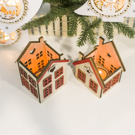 Festival Wood Ornaments House Candle Holder Festival Restaurant Decorations - image 2 de 6