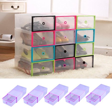 5PCS Rectangular Clear Plastic Shoe Box Transparent Drawer Case Protective Storage Shoe Boxes Storage Organizer Stackable Box by HURRISE ()