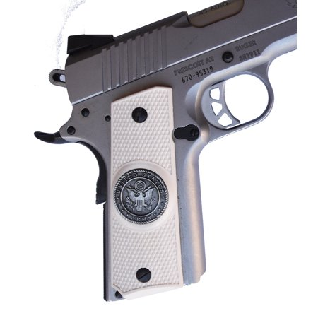 Colt Full Metal (Garrison Grip 1911 Colt Full Size and Clones With US ARMY Medallion Set In Light Ivory Polymer Grips (GR2) )