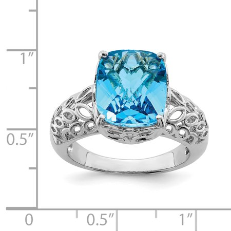 Sterling Silver Rhodium Checker-Cut Blue Topaz Ring Size 7 - image 1 de 2