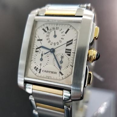 Cartier Swiss Replica Watches - Cartier 18k Gold/SS Tank Francaise Swiss Made 2303 Chrono Large Mens Watch 4006