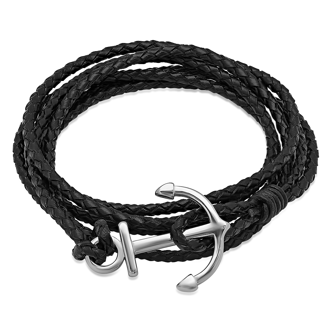 Black Leather Wrap Bracelet with Stainless Steel Anchor Clasp