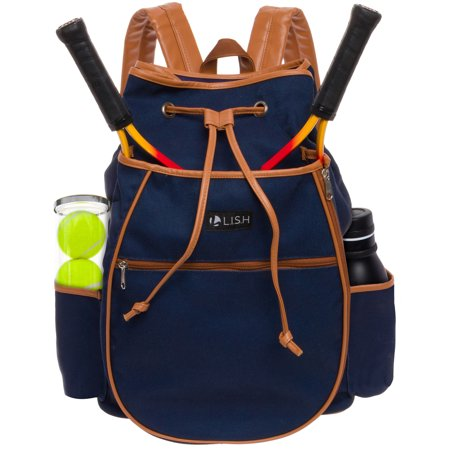 Tennis Backpack - LISH Match Point Canvas Tennis Racket Backpack - Solid Drawstring Racquet Holder Bag (Navy)