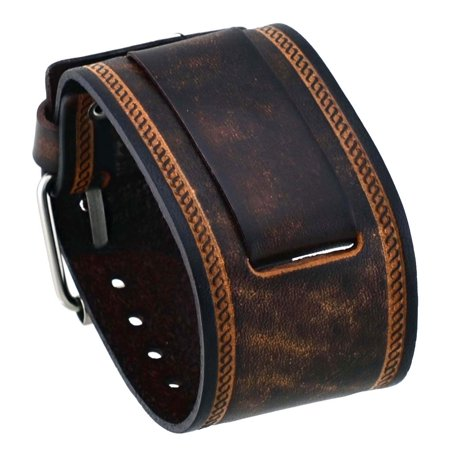 - IN-BS 24mm Lug Width Wide Brown Leather Cuff Wrist Watch Band