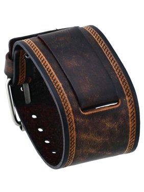 830ca38e617b3 Product Image IN-BS 24mm Lug Width Wide Brown Leather Cuff Wrist Watch Band