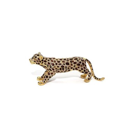 Gold Leopard 6-inch Enameled Figurine, 24K Gold Box with Swarovski Crystal