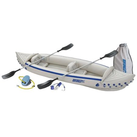 SEA EAGLE 370 Deluxe 3 Person Inflatable Kayak Canoe w/ Paddles & Repair Kit