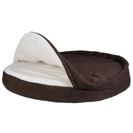 FurHaven Pet Dog Bed | Memory Foam Round Faux Sheepskin Snuggery Burrow Pet Bed for Dogs & Cats, Espresso,