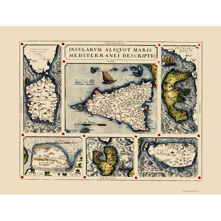 Mediterranean Map - Sicily, Malta, Sardinia, Corfu, Elba, Djerba 1587 - 23x30